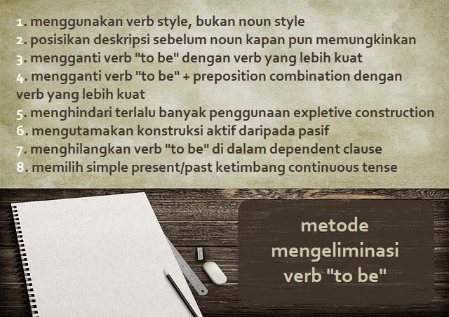 """metode mengeliminasi verb """"to be"""" bahasa Inggris: 1. menggunakan verb style, bukan noun style 2. posisikan deskripsi sebelum noun kapan pun memungkinkan 3. mengganti verb """"to be"""" dengan verb yang lebih kuat 4. mengganti verb """"to be"""" + preposition combination dengan verb yang lebih kuat 5. menghindari terlalu banyak penggunaan expletive construction 6. mengutamakan konstruksi aktif daripada pasif 7. menghilangkan verb """"to be"""" di dalam dependent clause 8. memilih simple present/past ketimbang continuous tense"""