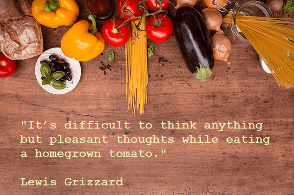 Kata Mutiara Bahasa Inggris tentang Makanan (Food) - 2: It's difficult to think anything but pleasant thoughts while eating a homegrown tomato. Lewis Grizzard